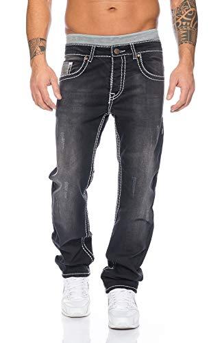 Rock Creek Herren Designer Denim Jeans Hose Dicke zier nähte NEU RC-2092, 29W / 30L, Schwarz Used