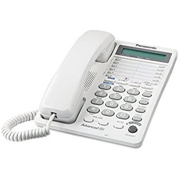 Panasonic 2-Line Integrated Corded Telephone System with 16-Digit LCD Speakerphone Clock Hearing Aid Compatibility and 3-Way Conferencing - KX-TS208W  White