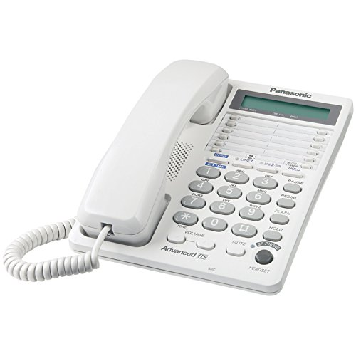 Panasonic 2-Line Integrated Corded Telephone System with 16-Digit LCD, Speakerphone, Clock, Hearing Aid Compatibility and 3-Way Conferencing - KX-TS208W (White)
