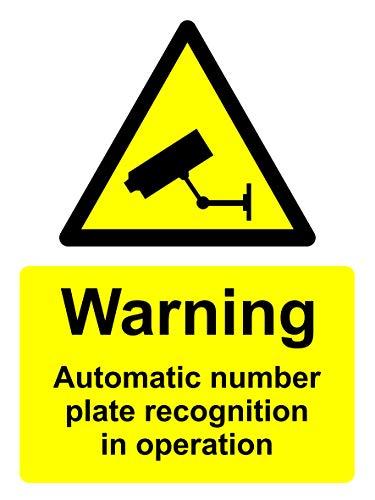 CCTV waarschuwingsbord - Automatische nummerplaat herkenning in werking veiligheidsbord - Zelfklevende sticker 400mm x 300mm