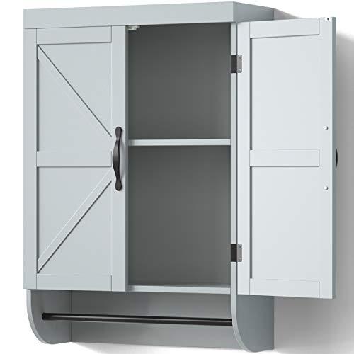 SRIWATANA Bathroom Wall Cabinet 2-Door Medicine Cabinet with Adjustable Shelf Gray