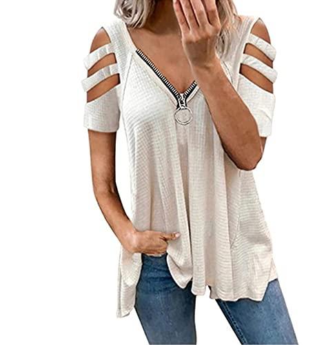 Verano para Mujer Casual con Cuello En V De Manga Corta con Cremallera Fuera del Hombro Camiseta De Color SóLido Tops