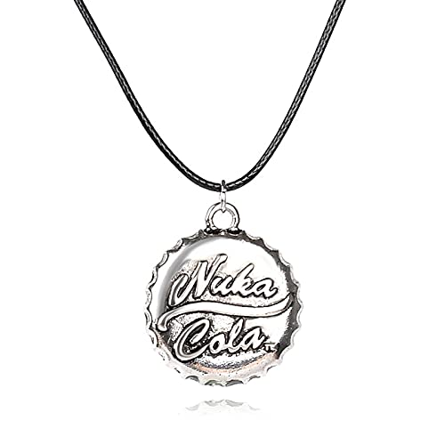 Cola NukaRetro Personalidad Bebida Botella Tapa Colgante Collar Plata Antigua