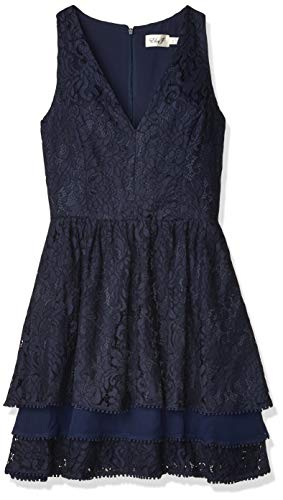 Eliza J Women's Sleeveless Lace Fit and Flare Dress, Navy, 18