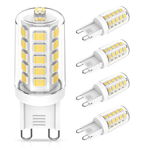 Bombillas LED G9 de 3W Equivalente a 28W 33W 40W Lampara Halógena, Blanco Natural G9 4000K, Sin parpadeo, 400LM, AC220-240V, No regulable, Ángulo de Luz de 360°, Pack de 4 Unidades