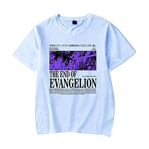 flowereyes Hommes Femmes Anime Neon Genesis Evangelion T-Shirt The End of Evangelion Dessin animé à Manches Courtes col Rond Blouse Ikari Shinji Ayanami Rei Hauts