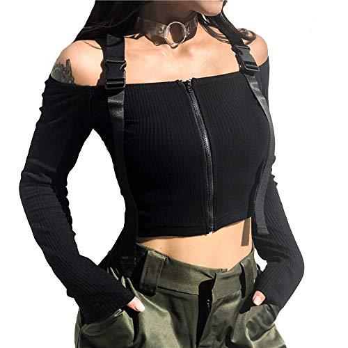 Vdual Femmes Rare Design Tout Noir Punk Grunge Hors Épaule Ceinture Strap Manches Longues Cropped Top Ulzzang