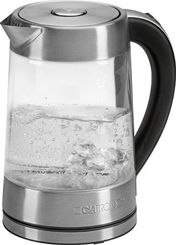 Clatronic WK 3501 G Glas-Wasserkocher, 1,7 L, verdecktes Edelstahlheizelement, Wasserstandsanzeige