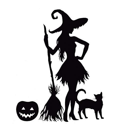DSRLO Autoaufkleber 15.7Cm * 20Cm Lustiger Kürbis Hexenbesen Schwarze Katze Magic Monster Vinyl Auto Aufkleber Aufkleber Schwarz/Silber