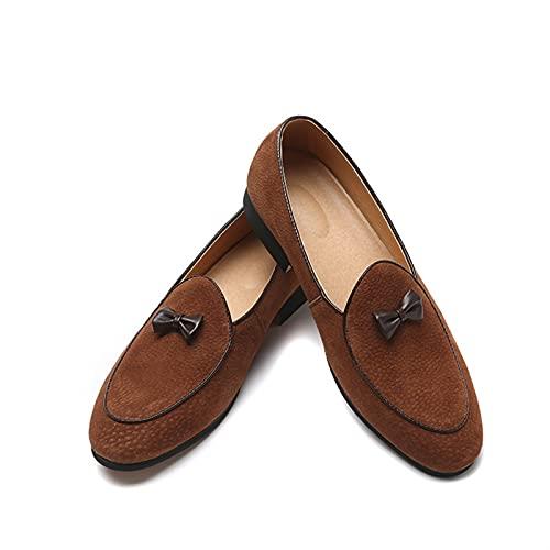 mdtep Zapatos casuales de hombre de piel de napa con delantal de piel, sillones con tacón alto de colores sólidos. Zapatos de hombre de piel formal (color: amarillo, talla: 40 EU)