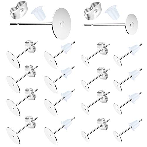 100 Pcs 3MM Hypoallergenic Stainless Steel Earrings Posts Flat Pad Blank Earring Pin Studs with 100 Pcs Butterfly Earring Backs 100 Pcs Silicone Bullet Earring Backs for Jewelry Making Findings