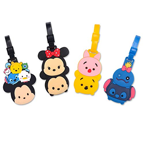 Finex 4 Pcs Set Mickey Mouse Minnie Mouse and Friends Silicone Travel Luggage Baggage Identification Labels ID Tag for Bag Suitcase Plane Cruise Ships with Belt Strap