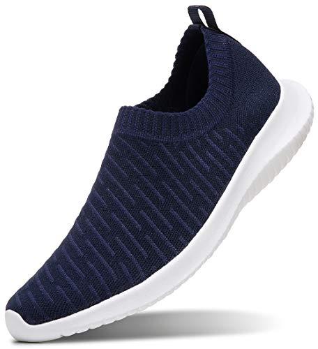 Zapatillas sin Cordones MAIITRIP para Mujer Zapatillas de Tenis para Caminar Calcetines Casual Antideslizante Ligero Cómodo Malla Transpirable de pie Tejido de enfermería Treval Azul Marino Talla 4.5