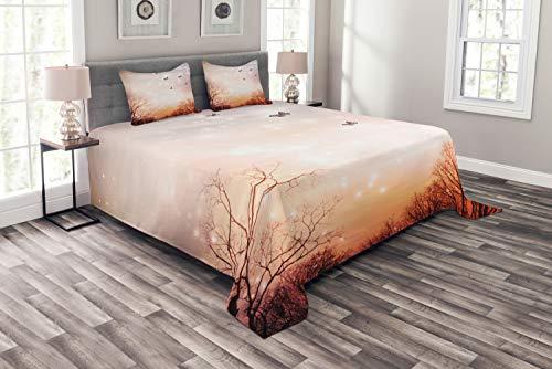 ABAKUHAUS Vlinder Bedsprei, Butterflies Trees Sky, Decoratieve Gewatteerde 3-delige Spreiset met 2 Kussenhoezen, 220 x 220 cm, Baby Pink Orange