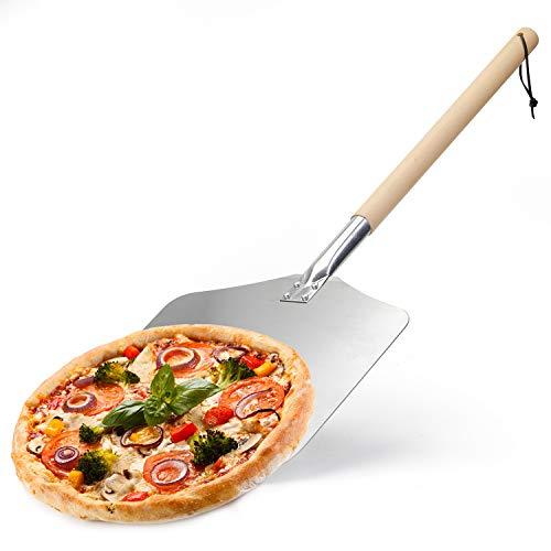 Palas para Pizzas Profesional de Aluminio Pala de Pizza con Mango de Madera,Paleta para Pizza para la Pizza Hecha a Mano de la Hornada,Hacer Pan en el Horno (30×33×83cm)