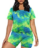 Workout Sets for Women 2 Piece Shorts and Shirt with Pocket XL