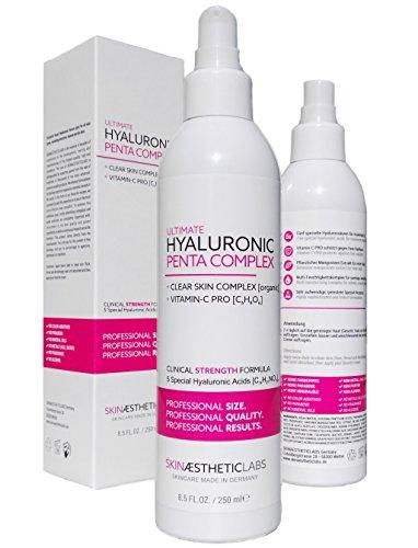 Hyaluronsäure Serum Konzentrat 250 ml • 5-fach Hyaluron • Klinik-Größe • Anti Aging Gel mit Vitamin C Pro • Clear Skin Complex • Hypoallergen • Pflege für Gesicht, Hals und Dekolleté