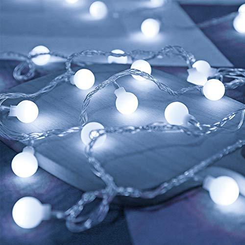 Weiß Lichterketten, Marvelights Globus Lichterketten Batteriebetrieben, 6,5 m 50 LED, 8 Modi, Wasserdicht RGB Party Lichter für Indoor Outdoor, Pavillon, Garten, Schlafzimmer
