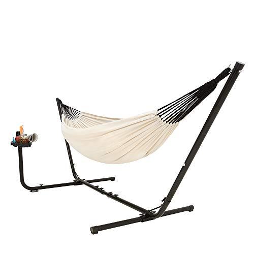 VITA5 Hamaca con estructura (algodón) para 2 personas/205 kg con soporte para vasos y libros, superficie de descanso 241 x 160, con bolsa de transporte (beige)
