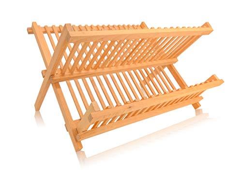 EKFJAELL faltbares Geschirrabtropfgestell Holz - 100% hochwertiges Buchenholz, ökologisches & nachhaltiges Küchenzubehör - wasserfest, Abtropfgestell Geschirr, Abtropfgitter, Geschirrtrockner