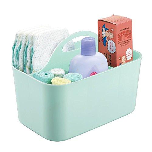mDesign - Baby-organizer - voor babykamer en badkamer - voor het opbergen van speelgoed, badkamerbenodigdheden, shampoo, flesjes - met handvatten en afvoergaten/4 compartimenten - mintgroen