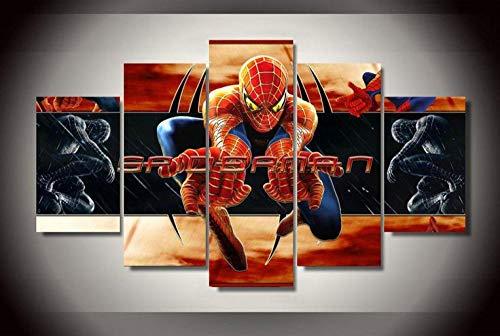 45Tdfc Cuadro En Lienzo 5 Piezas Personaje de película de superhéroe Spiderm Dormitorio Arte Cartel Pared DecoracióN del Hogar Cuadro Pintura para Sala Estar Listo para Marco