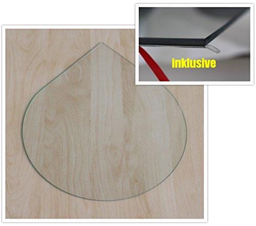Tropfen 100cm - Funkenschutzplatte Kaminbodenplatte Glasplatte f.Ofen u. Kamin (Klarglas - Tropfen 100cm - mit Dichtung)