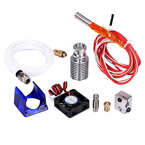 3D Printer V6 J-head Hotend Kit 1.75/3MM Filament Bowden Extruder Nozzle With Cooling Fan Heater Volcano Kit Silicone Parts (Size : 3.0 Teflon)