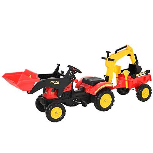 HOMCOM Tractor a Pedales con Remolque Excavador con Pala Frontal Juguete de Conducción para Mayores de 3 Años Dirección y Palas Fáciles de Controlar Soporta hasta 35 kg 179x42x59 cm Rojo