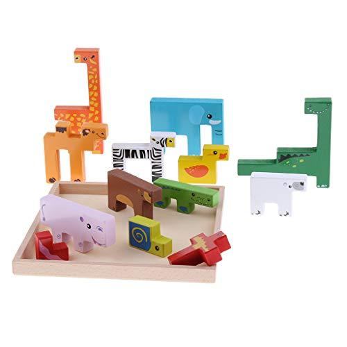 F Fityle Bloques de Construcción Juguete Rompecabezas de Madera 3D con Bandeja de Almacenamiento Woode Juguete Educativo