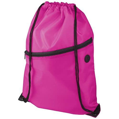 Mochila de Cuerdas Rosa Hombre Mujer,Bolsa Mochila Gran Capacidad 35x43 cm,con Bolsillo Frontal con Cremallera y Salida para auricularei,Hecho de Material plastico Poliester (Fucsia)