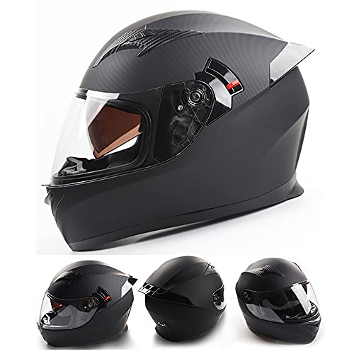 BDTOT Casco Moto Integral ECE/Dot Homologado Casco Scooter para Hombre y Mujer Casco Unisex Negro de Motocicleta para Adultos con Doble Visera Anti-rasguños y Protección Rayos UV