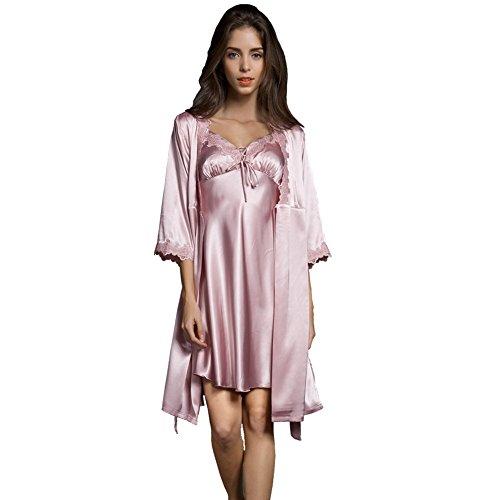 SUNBABY Women Sexy Silk Satin Robe Camisole Pajama Dress 2 Piece Suit Sleepwear Best Gift for Girls, Pink, Medium