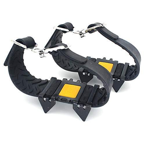 LFJY Steigeisen 4 Vier-Zahn-Anti-Rutsch-Überschuh Schneekletterausrüstung Schneekralle Wanderschuhe Nagelkette Einfache Steigeisen,Black
