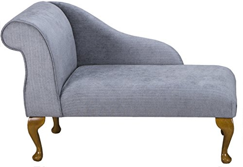 "41"" Small Classic Chaise Longue - Chair Seat - Topaz Slate Fabric - Left Facing With Queen Anne or Straight Tapered Legs"