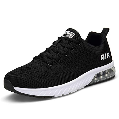 Straßenlaufschuhe Herren Damen Laufschuhe Fitness Turnschuhe Sneakers Air Sportschuhe Running Shoes(Schwarz Weiß, 44EU)