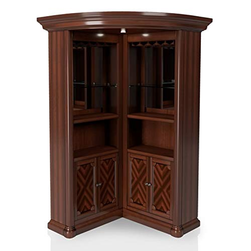 Furniture of America Myron Traditional Wood Corner Home Bar in Dark Cherry