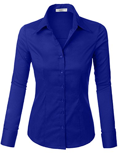 LE3NO Womens Tailored Long Sleeve Button Down Shirt with Stretch RoyalBlue