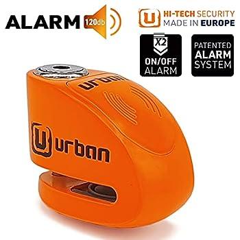 Urban UR906N Antivol Moto Bloque Disque Alarme 120 db, 6 mm Universel, Moto Scooter Vélo électrique Scooter, Étanche, Orange