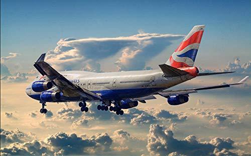 Kit de pintura de diamante taladro redondo completo 5D Diy, British Airways Plane blue Sky, bordado con incrustaciones decorativas sin marco 40x50 cm