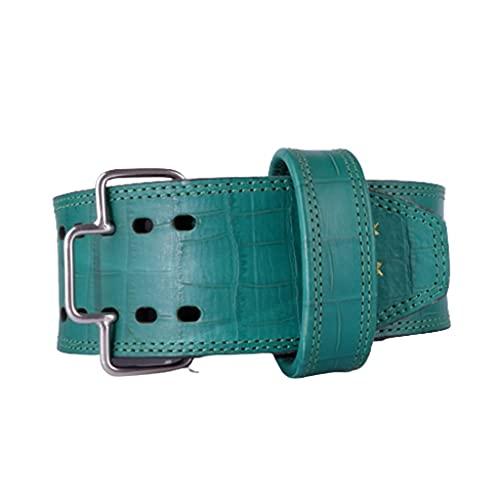 FSJKZX Cinturón de piel ampliado con patrón verde para sentadillas, levantamiento muerto y fitness, cinturón profesional XXS XL (color: verde, tamaño: L)