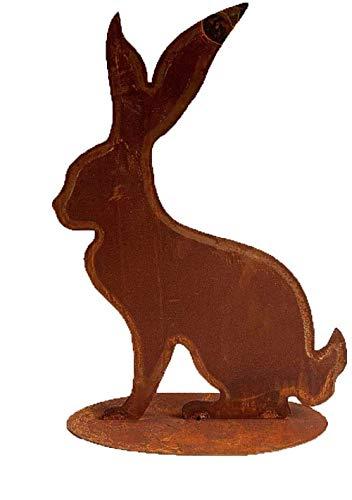 Rostfigur Hase auf Standplatte im Rost Design H: 40cm, Gartenstecker Osterhase für den Garten, Frühlingsdeko