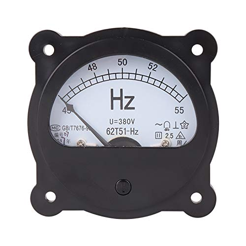 ILS - 62T51-Hz AC 220V 380V 45-55Hz Negro Frecuencia Voltímetro Panel Contador Esfera Analógica Redonda