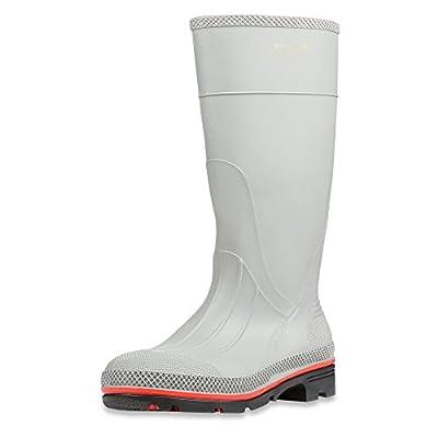 "Servus MAX 15"" PVC Chemical-Resistant Soft Toe Men's Work Boots, Gray, Red & Black (75122), Size 13"