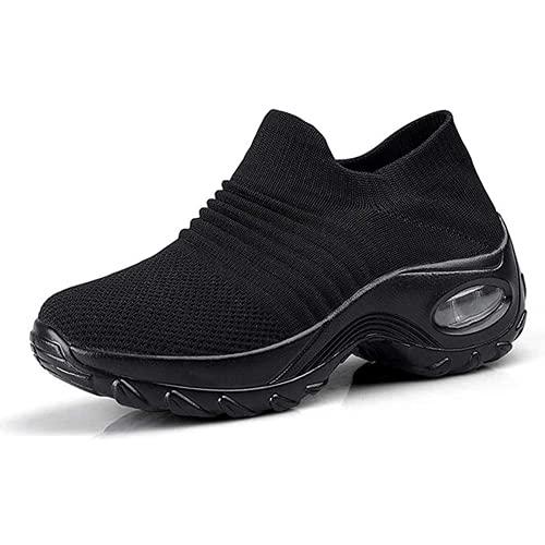 Zapatos Deporte Mujer Zapatillas Deportivas Correr Gimnasio Casual Zapatos para Caminar Mesh Running Transpirable Aumentar Más Altos Sneakers Negro Gris Morado Rojo 35-44 Negro 39