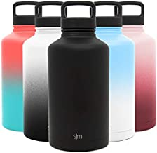 Simple Modern 64 Ounce Summit Water Bottle - Large Stainless Steel Half Gallon Flask +2 Lids - Wide Mouth Double Wall Vacuum Insulated Black Leakproof - Midnight Black