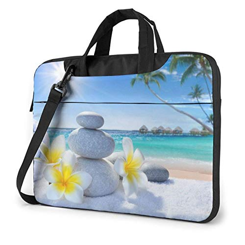 Tropical Flower and Zen Stone Printed Laptop Shoulder Bag,Laptop case Handbag Business Messenger Bag Briefcase