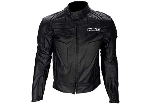 WinNet giacca giubbotto da moto in di pelle con protezioni omologate C.E. ed imbottitura removibile (XL)