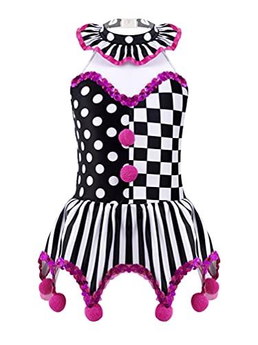 dPois Disfraz Circo de Payaso para Nias Disfraz Bufn Vestido Cortos de Estampado Cuadros Disfraz Halloween Fiesta Carnaval Disfraz Mago Nia Negro 3-4 aos