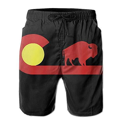 Colorado Buffalo State Flag Shorts décontractés pour Hommes/garçons Maillots de Bain Maillot de Bain Taille élastique Pantalon de Plage avec Poches,L